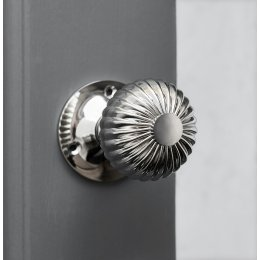 Flower Door Knobs (Pair) - Polished Nickel
