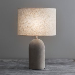 Concrete Table Lamp (Tall) With Linen Shade SAVE 15%