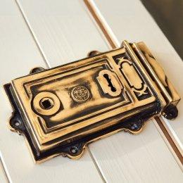 Large Victorian Style Rim Lock - Brass