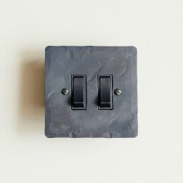 2 Gang 2 Way Rocker Switch - Black Waxed