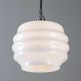 Fluted Glass Deco Pendant Light - Polished Nickel