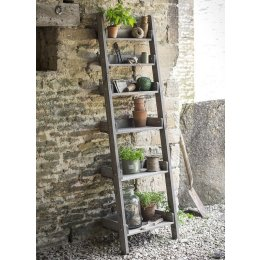 Rustic Wooden Shelf Ladder