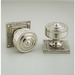 Georgian Decorated Rose Door Knobs (Pair) - Nickel