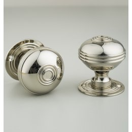 Regency-Style Large Door Knobs (Pair) - Nickel