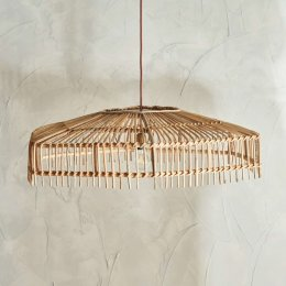 Natural Cane Pendant Light (Wide)