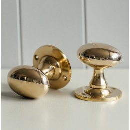 Oval Door Knobs (Pair) - Polished Brass