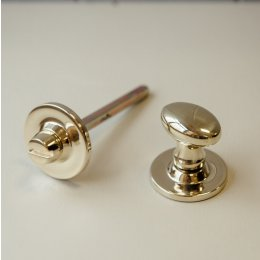 Oval Knob Turn and Release on Plain Rose - Polished Brass