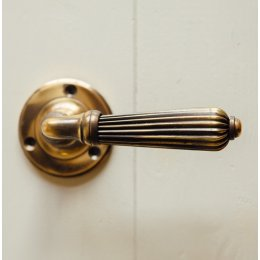 Reeded Lever Handle (Pair) - Aged Brass