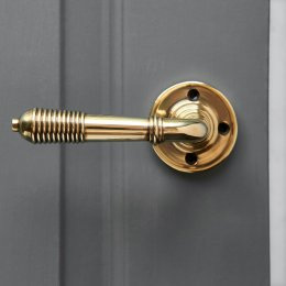 Reeded Lever on Rose (Pair) - Aged Brass