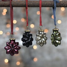 Coloured Star Baubles - Set of Four SAVE 50%