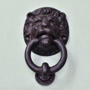 Lions Head Hand Forged Door Knocker - Black Waxed