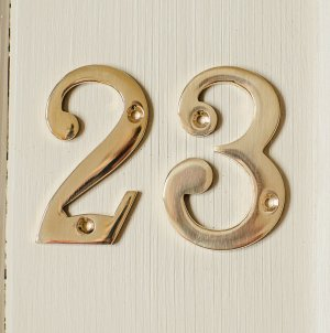 House Number '3'  - Brass