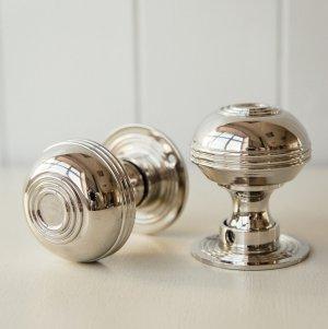 Regency-Style Door Knobs (Pair) - Nickel