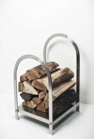Log Holder - Brushed Steel SAVE 50%
