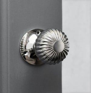 Flower Door Knobs (Pair) - Polished Nickel