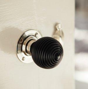 Ebony Wood Beehive Door Knobs (Pair) - Nickel Collar & Rose