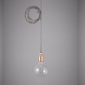 Vintage Style Pendant Set - Copper Finish & Elephant Grey Cable
