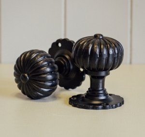 Flower Door Knobs (Pair) - Black