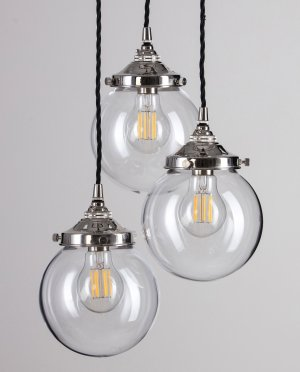 Glass Globe Cluster Pendant Light - Polished Nickel