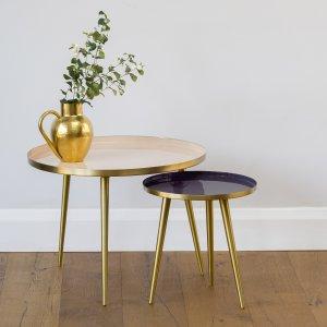 Jelva Side Tables - Glossy Linen save 25%