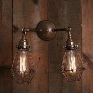 Industrial Double Arm Cage Wall Light