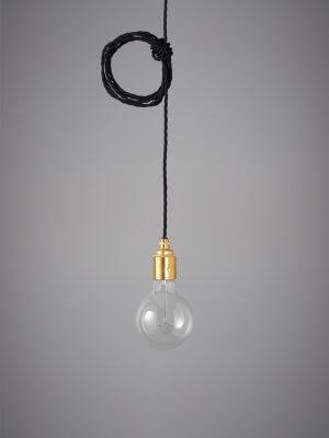 Vintage Style Pendant Set - Brass Finish & Raven Black Cable