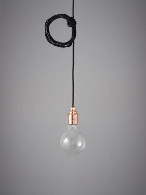 Vintage Style Pendant Set - Copper Finish & Raven Black Cable