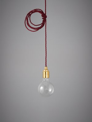 Vintage Style Pendant Set - Brass Finish & Burgundy Cable