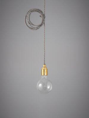 Vintage Style Pendant Set - Brass Finish & Elephant Grey Cable