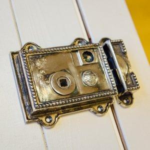 Beaded Regency-Style Rim Latch - Aged Nickel