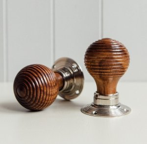 Rosewood Beehive Knobs (Pair) - Nickel Collar & Rose