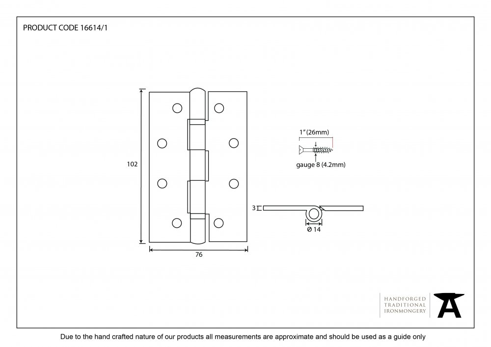 SSS 4'' Ball Bearing Butt Hinge (pair) image