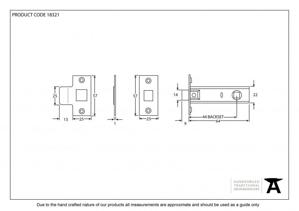 Brass 2.5'' Tubular Mortice Latch image