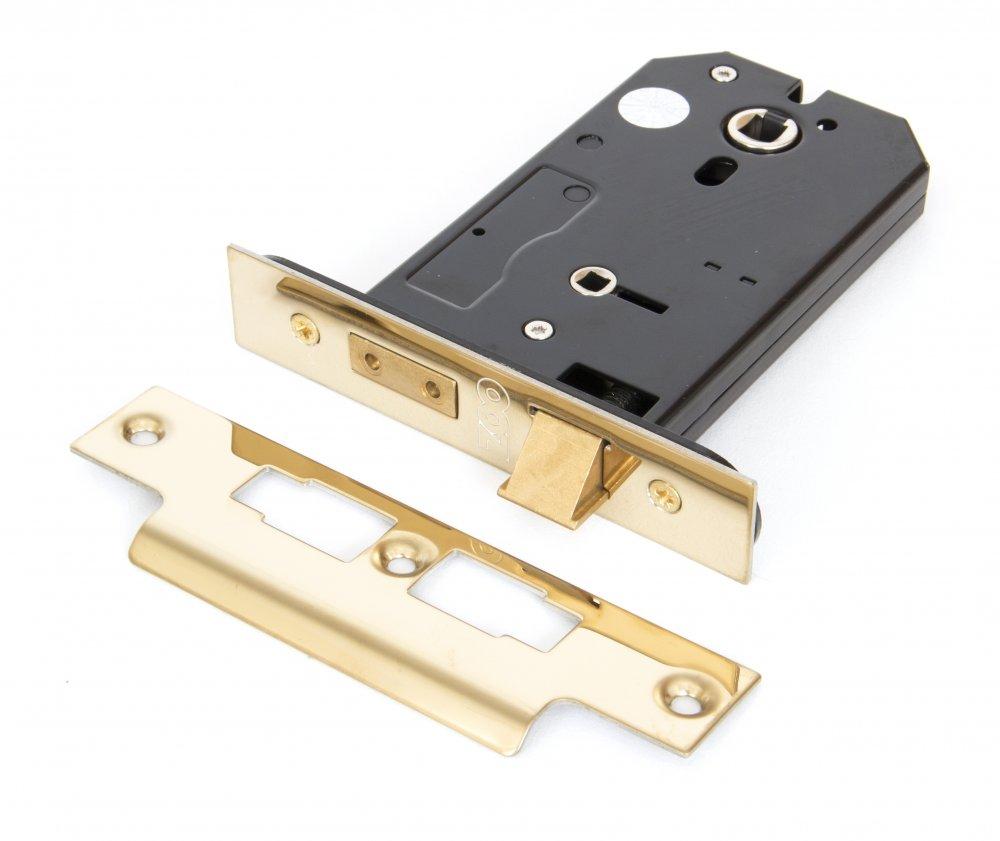 "Brass 5"" 3 Lever Horizontal Bathroom Lock image"