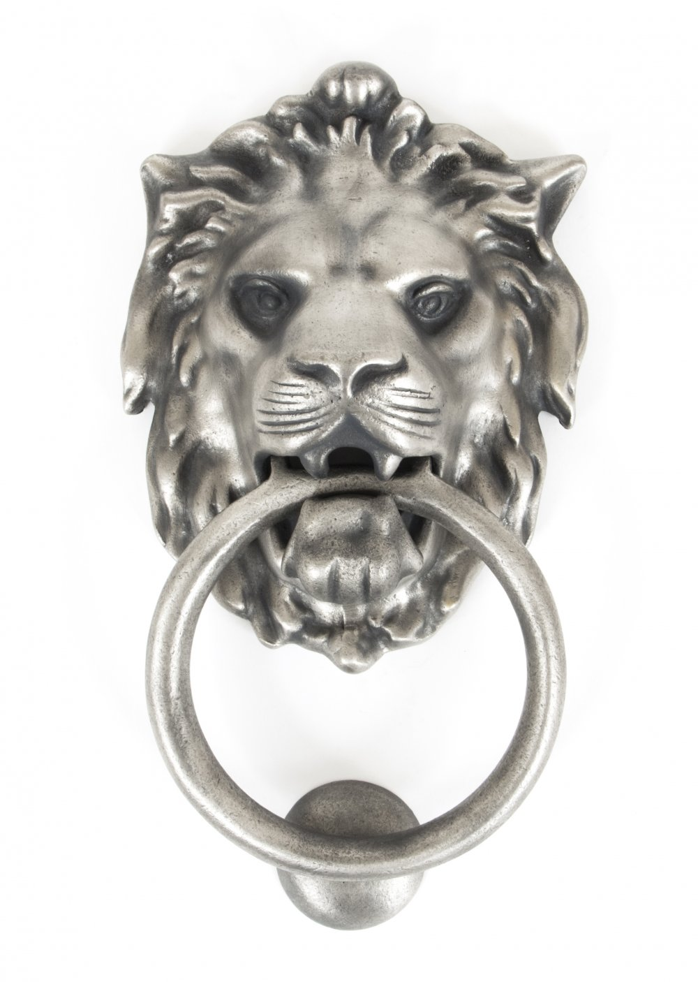 Lion's Head Door Knocker - Antique Pewter image