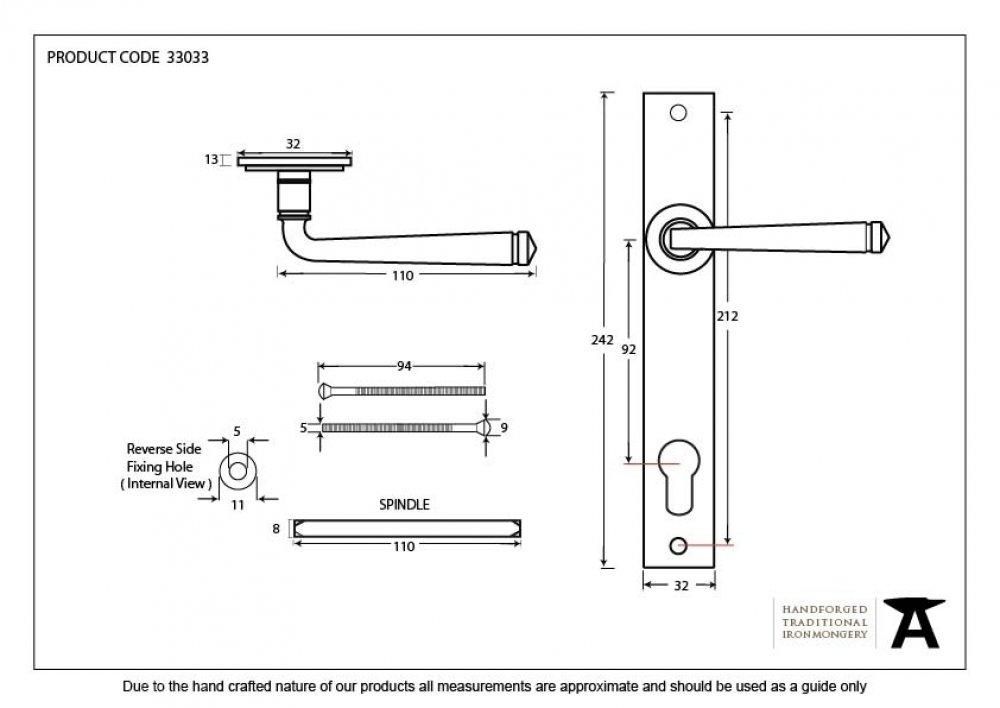 Avon Slimline Lever Espag. Lock Set - Black image