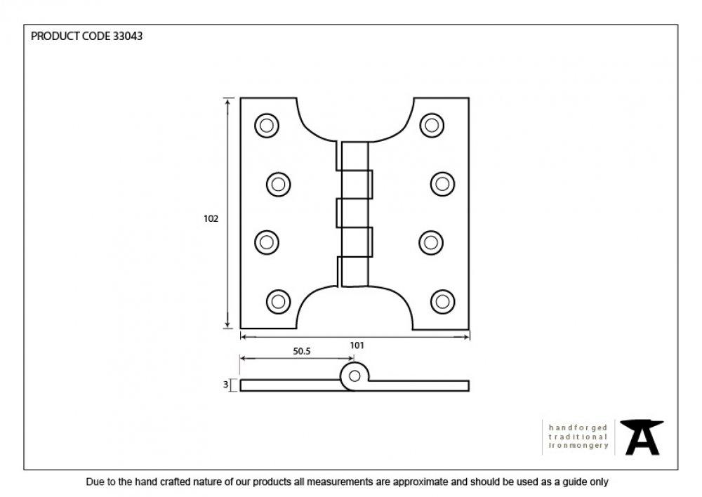 "Black 4"" x 2'' Ball Bearing Parliament Hinge (pair) image"