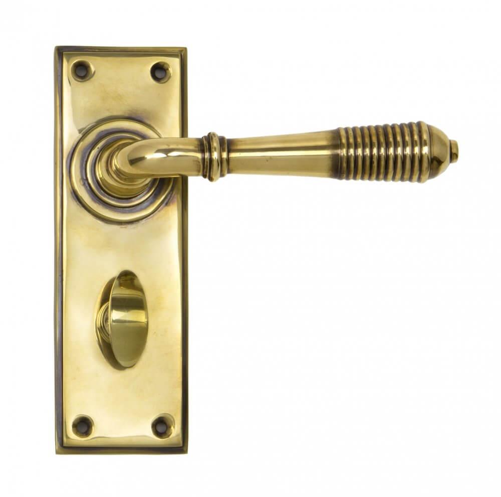 Aged Brass Reeded Lever Bathroom Set image