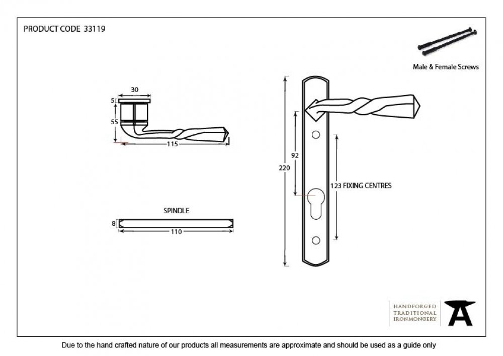 Black Narrow Lever Espag. Lock Set image