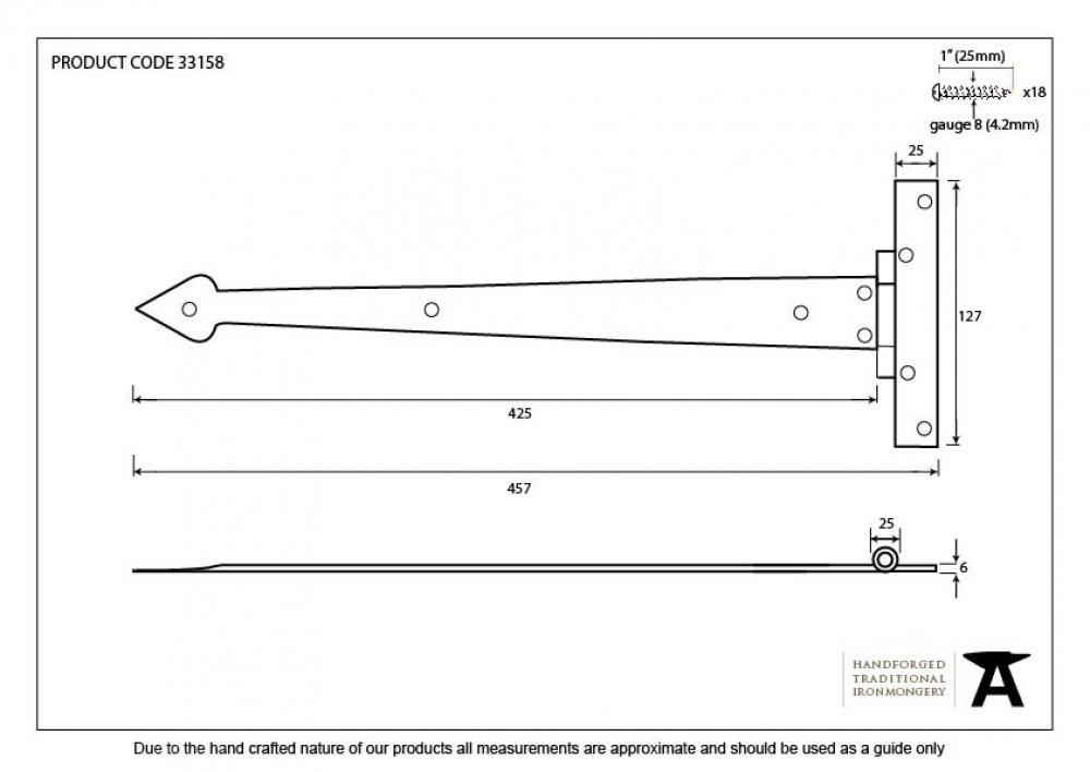 "Beeswax 18"" Arrow Head Hinge (pair) image"