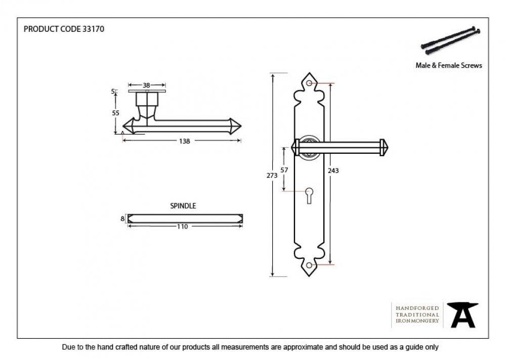 Beeswax Tudor Lever Lock Set image