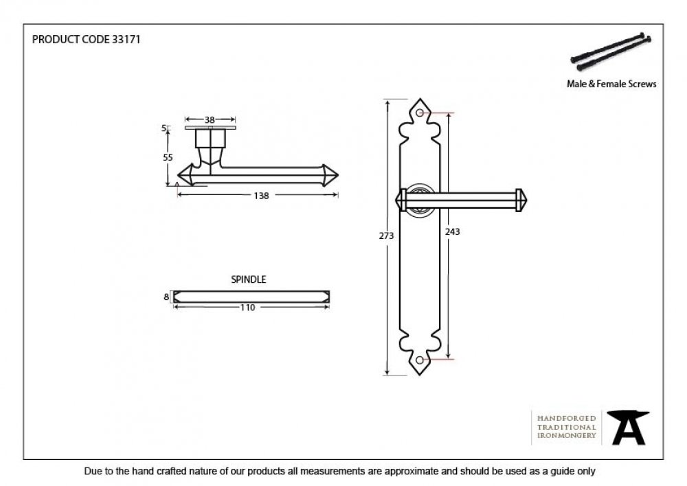 Beeswax Tudor Lever Latch Set image