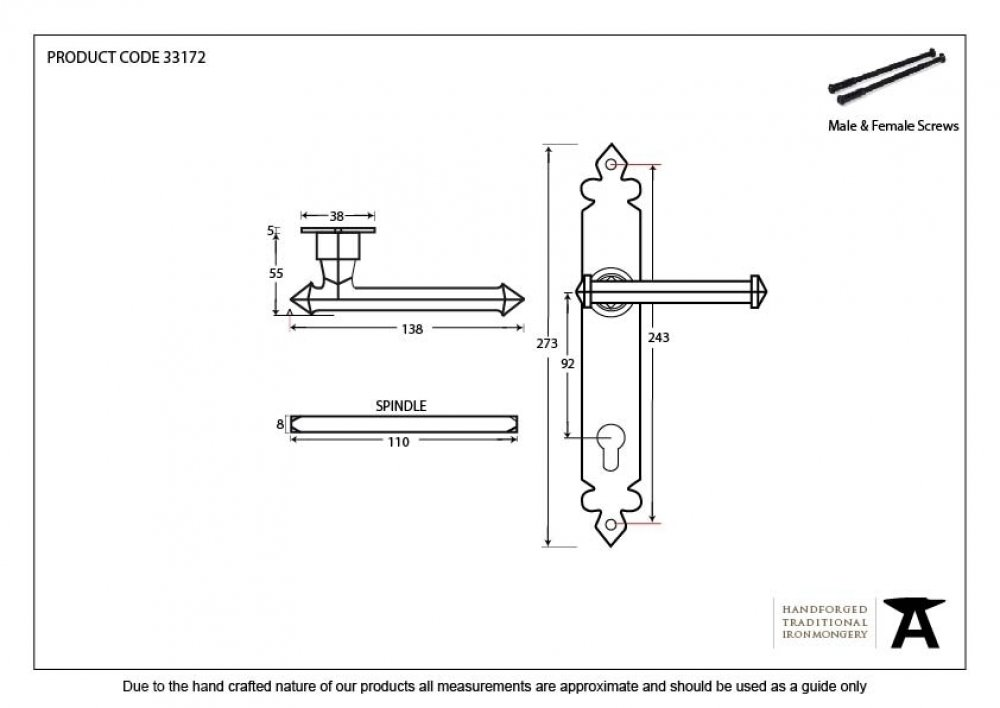 Black Tudor Lever Espag. Lock Set image