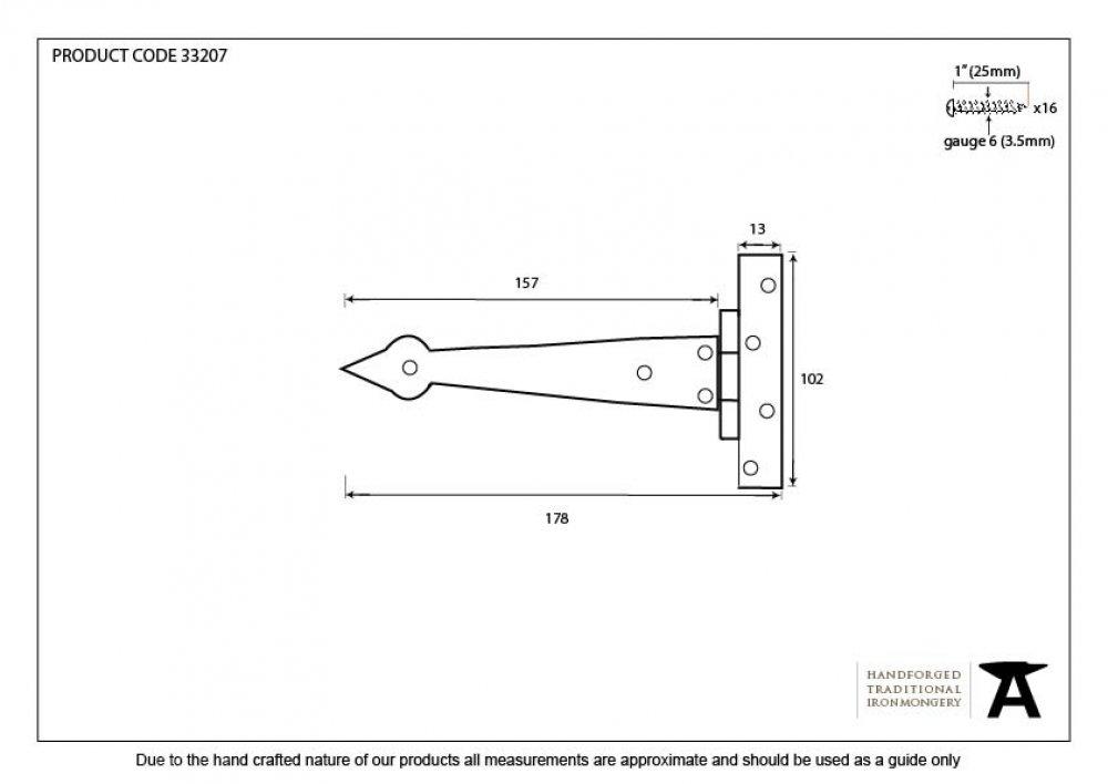 Beeswax 6'' Arrow Head T Hinge (pair) image