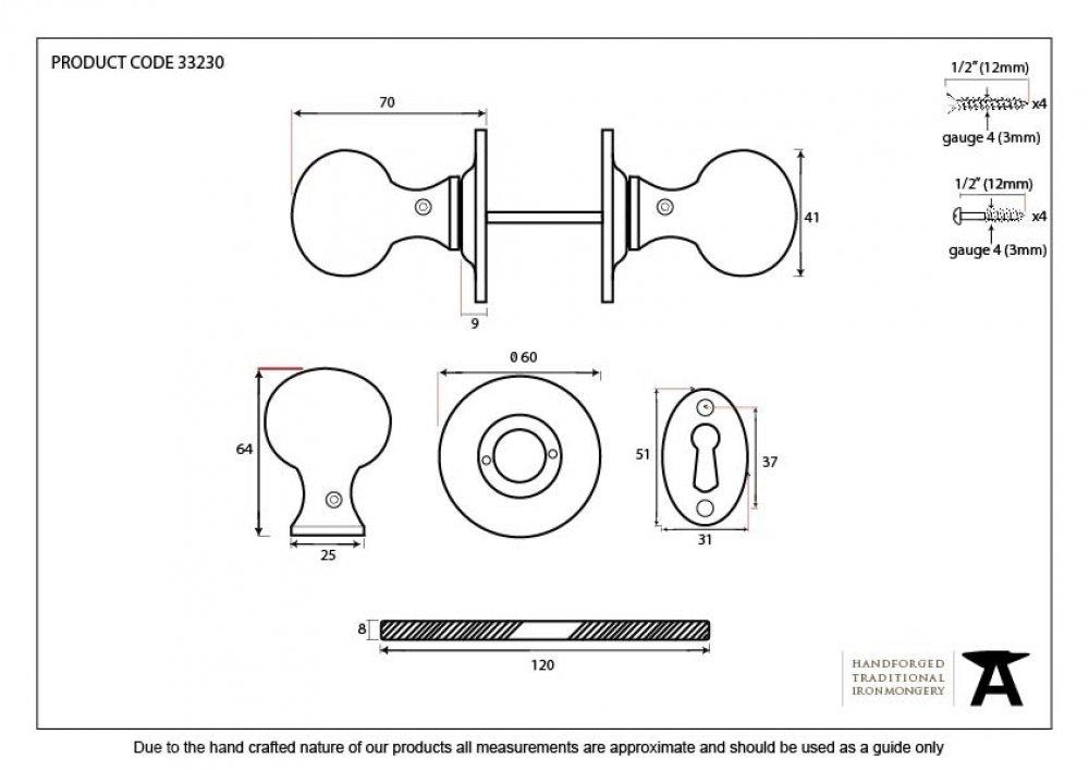 Beeswax Round Mortice/Rim Knob Set image