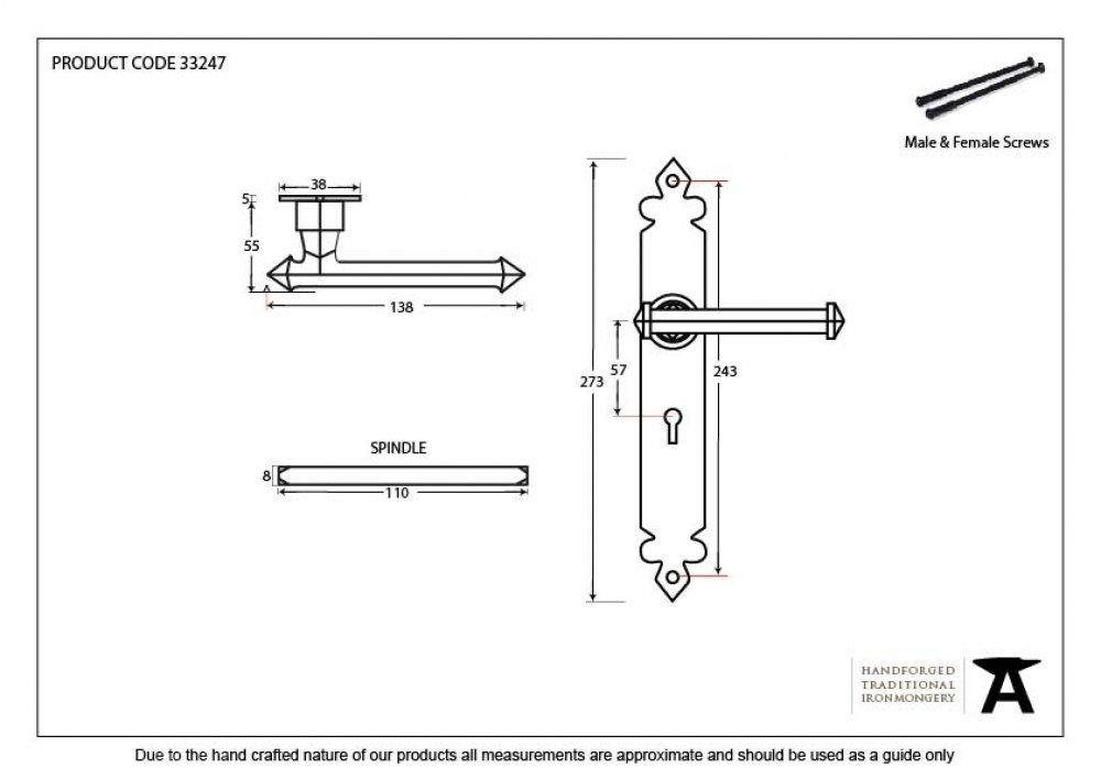 Black Tudor Lever Lock Set image