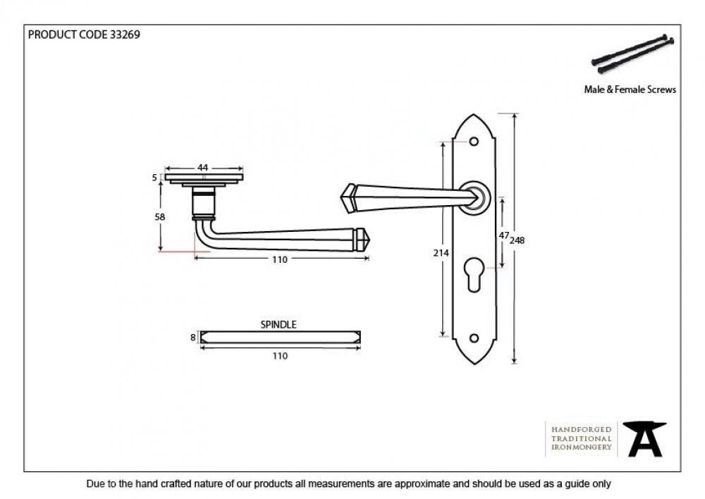 Beeswax Gothic Lever Euro Lock Set image