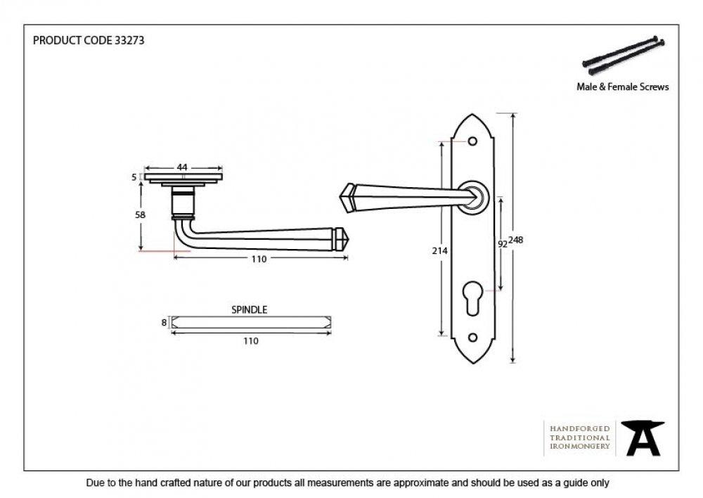 Black Gothic Lever Espag. Lock Set image