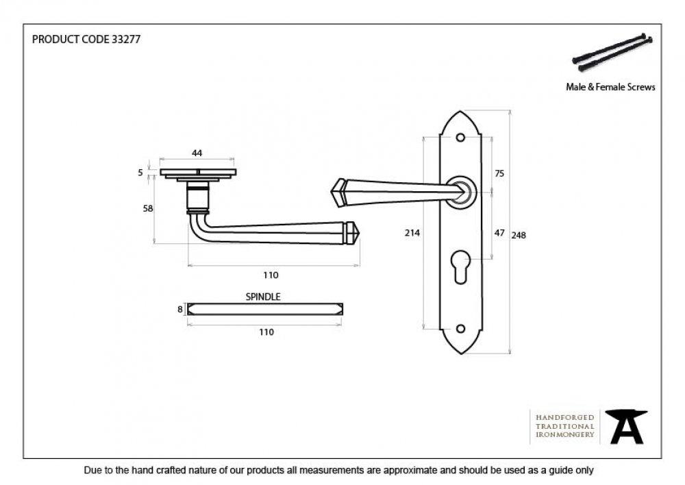 Black Gothic Lever Euro Lock Set image