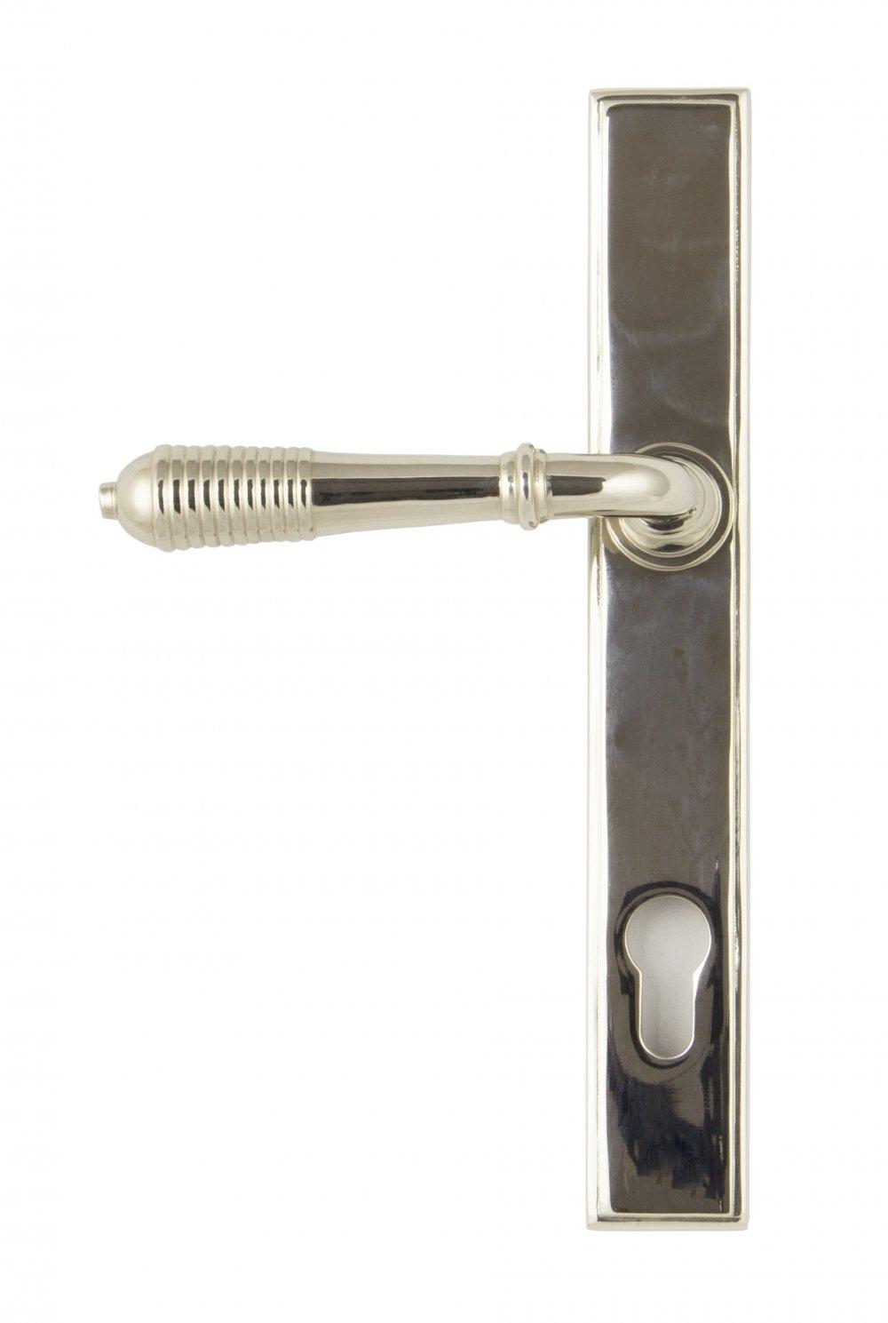 Polished Nickel Reeded Slimline Lever Espag. Lock Set image